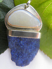 Lapis lazuli rough and white opal in  925 silver pendant handmade (11)