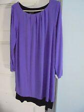 CITIKNITS by QVC 2-layer knit DRESS Size L New w/Tag purple & black