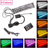 4Pcs RGB LED Car Interior Strip Lights Atmosphere Lamp Music Remote Control