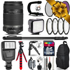 Canon EF-S 55-250 IS - Video Kit + Slave Flash + Monopad - 32GB Accessory Bundle