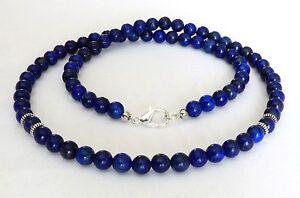 "Lapis Lazul Gemstone Bead Men's Necklace 6mm Silver Clasp Length 18"" - 30"""
