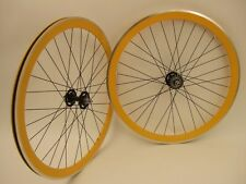 NEW TRACK DEEP V BIKE WHEELSET FIXED FIXIE YELLOW
