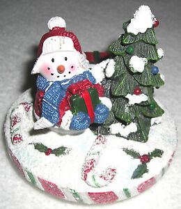 YANKEE CANDLE Hand Painted 'Peppermint Snowman' Ceramic Jar Topper -  New!