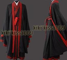 China Han Fu Kimono Men's Festival Brocade Robe Black&Red Custom-Made
