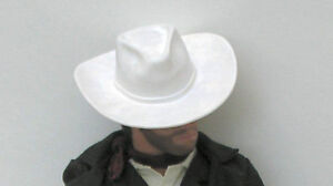 White Western Cowboy HAT and BANDANA fits 12in Lone Ranger doll Lawman figure