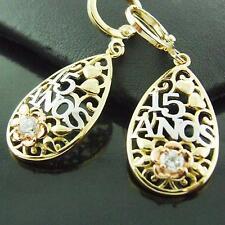 DROP EARRINGS REAL 18K G/F MULTI-TONE GOLD DIAMOND SIMULATED FILIGREE DESIGN