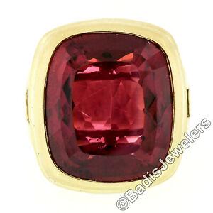 Kieselstein Cord 18k Gold Large GIA 20ct Bezel Rubellite Tourmaline Diamond Ring