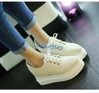 Women's Round Toe Lace Up Fashion Sneakers Casual Platform Wedge heel Shoes size