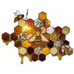 Stained Glass Bee Honeycomb Hanging Suncatcher Ornaments Window Garden Decor