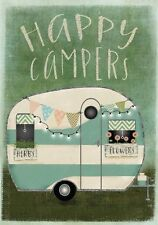 "FMDD112 HAPPY CAMPER CAMPING RV SUMMER 12""x18"" GARDEN FLAG BANNER"