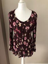 Roman Ladies Size Medium Long Sleeve Pleated Blouse/Top