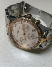 Marc by Marc Jacobs Chrono Silver & Rose Gold 2Tone Crystal Womens Watch MBM3106