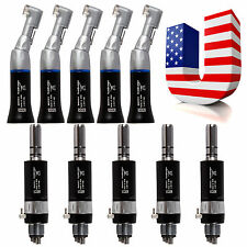 10PCS Low Speed Handpiece Contra Angle + Air Motor 4 Hole Black fit NSK PiE