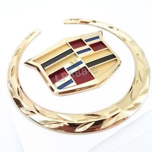 "6""Gold Front Grille Emblem Wreath Crest Badge for CADILLAC Ornament Sticker"