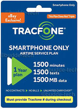 Tracfone Smartphone 365 days plan + 1500 minutes+texts 1.5GB data Digital Refill