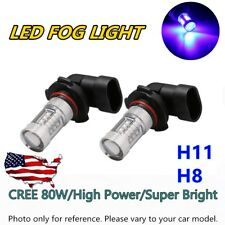 2x H11 H8 H9 Car 80W High Power 800LM LED Fog Lights Lamp Bulb Replacement Blue