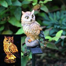 Garden Ornament Solar Light Tawny Owl Animal Bird Outdoor LED Decor Sculpture
