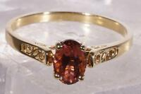 Solitaire Garnet Ring 14 K Yellow Gold Size 8.75