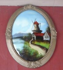 Antique Reverse Painted ORNATE OVAL wood  CONVEX FRAME WINDMILL bubble glass