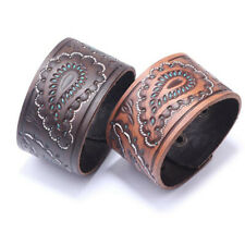 Punk Mens Wide Printing Leather Wristband Bracelet Cuff Wrap Bangle Adjustable