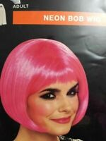 NEON PINK BOB WIG Adult Halloween Costume NEW IN PACKAGE!