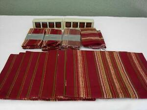 Lot NEW Table Settings for 8 Napkins Rings Placemats Moroccan Burgandy Stripes