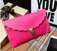 Ladies Hot Pink Scallop Envelope Clutch Purse Bag Clubbing Party Evening Summer