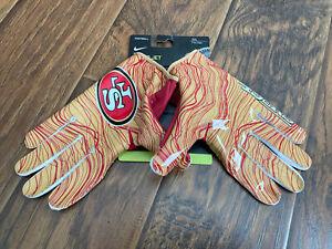 Nike NFL San Francisco 49ers Team Logo Vapor Jet 5.0 Football Gloves Size XXL