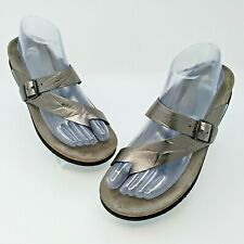 Mephisto Helen Womens Pewter Silver Leather Cork Sandals EUR 38 US L7