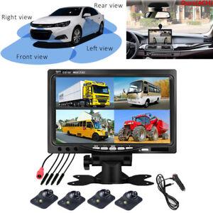 "7"" HD Car Parking Monitor Kit 4CH Screen Splitter + Front Rear Side View Cameras"