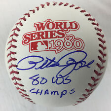 "Pete Rose inscribed ""80 WS Champs"" Signed 1980 World Series Baseball JSA COA"