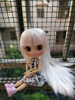 """8"""" Neo Blythe Doll From Factory Jointed Body Matte Face White Hair With Bang"""