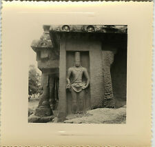 PHOTO ANCIENNE - VINTAGE SNAPSHOT - INDE MAHABALIPURAM STATUE SCULPTURE 1