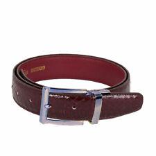 Men's Burgundy Snake Skin Leather Belt With Stylish Silver Buckle