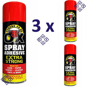 3x Extra Strong Spray Adhesive Glue For Card, Paper, Tile Carpet & Leather 500ml