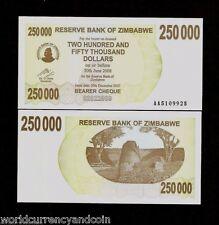 ZIMBABWE 250000 250,000 DOLLARS P50 2007 *AA* BEARER CHECK UNC RARE MONEY NOTE