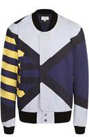 Public School Men's Blue Striped Bomber Jacket, Multi-Color, Size S, MSRP $795