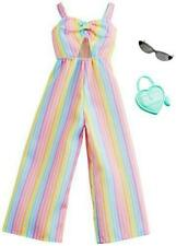 Barbie Clothes: Rainbow-Striped Jumpsuit, Plus 2 Accessories Dolls, Gift for 3 t