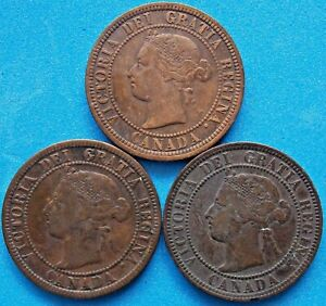 1882 1893 1899  Canada Canadian Large 1 Cent Victoria Coins - Lot Of 3