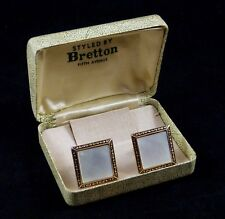 Vintage BRETTON Mother of Pearl Shell Gold Tone Cuff Links in Clamshell Box