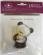 First Holy Communion Invitations - Pack Of 6 - Silver Embossed. Boy/Girl