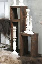 Holz Beistelltisch Shabby Hocker Kerzenständer Regal Blumen Tisch Set Palisander