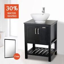 "24"" Bathroom Vanity Mirror White Ceramic Sink Combo W/Faucet Wood Black Set"