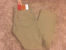 NWT Mens Levi's 513 jeans Slim Straight W/Stretch Khaki 30x30 Style # 08513-0337
