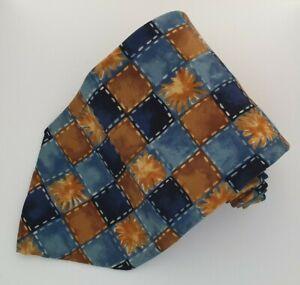 Mens Tie Vintage M&S Blue/Gold Squares 100% Silk MARKS & SPENCER Necktie