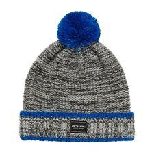ANIMAL Mens Grey Royal Blue Fleck Knit Pom Pom Beanie Hat One Size > BNWT