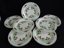 """HOLLY WITH BERRIES  7 1/2"""" HOLIDAY PLATES, SET OF 7, """"WHITE CHRISTMAS"""""""