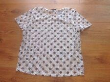Ladies Short Sleeved Ivory Floral Lace With Black Spots top Size 12 George BNWT