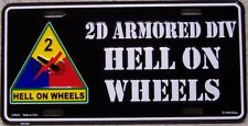 Aluminum Military License Plate Army 2nd Armored Division NEW Hell on Wheels