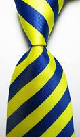 New Classic Striped Yellow  Dark Blue JACQUARD WOVEN 100% Silk Men's Tie Necktie